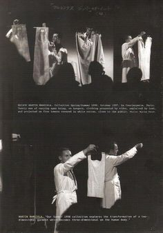 """Maison Martin Margiela spring—summer 1998. """"During the second phase of the fashion process, when the identified sources are presented for the first time to a public, there is a need for some distance: the forms have not yet been tempered, the public's resistance has not been tested. A meticulously staged ritual, bordering on the theatrical, is required. For clothing, the fashion show provides this milieu,…"""" Val K. Warke, """"Architecture. Observing the mechanisms of fashion"""", in Architecture…"""