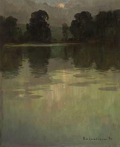 Landschaft bei Sonnenuntergang am See, 1950, Alexej von Assaulenko. Ukrainian (1913 - 1989)
