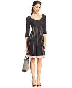 Nine West Contrast Knit Stripe Sweater Dress