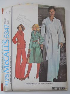 Vintage McCall's Sewing Pattern 5347 Misses' Dress,Pants and Top in Size 18 UC #McCalls #DressTopPants