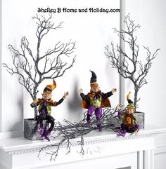 elf figure set of 3 halloween decoration 16 inches tall rzha h3502364 raz new - Raz Halloween Decorations