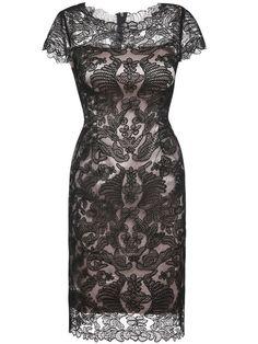 Black Gauze Disc Flowers Sheath Dress.