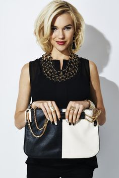 Black, ivory and fabulous #CCStyle  I LOVE the top, the necklace, the rings, the HAIRCUT! Not so much the nail polish or the bag, though.