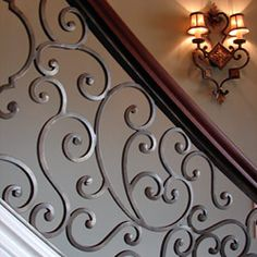 Stairs Barrier Ideas Stair railings serve greater than a practical function– they provide staircases an aesthetic visibility and also make a stairs a masterpiece. Check out these step railing… Luxury Staircase, Modern Railing, Wrought Iron Stair Railing, Stair Railing Design, Staircase Railings, Stairs, Banisters, Stair Case Railing Ideas, Iron Railings