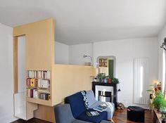 Un studio de 29 m² / A studio apparment of 29m² : http://www.maison-deco.com/petites-surfaces/amenagement-petites-surfaces/Un-studio-de-29-m2 Réépinglé par sylvieleblancdeco.fr