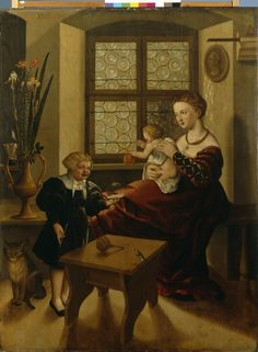 A family scene, Erhard Schwetzer, paint on panel, 1541, Nuremberg. The boy on the left is blowing bubbles.