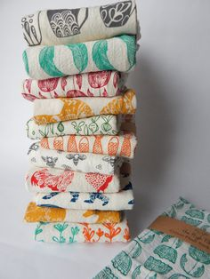 $34  Kitchen Towel Hand Printed Choose Your Set of 3 by TheHighFiber