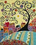 Houses And A Swirl Tree