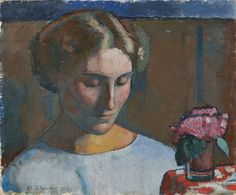Alexandre Blanchet - Portrait de femme au bouquet de fleur, 1929 - Huile sur toile, 38 x 46 cm. Art, Painting