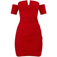 Red Bardot Wrap Front Bodycon Dress ($40) ❤ liked on Polyvore featuring dresses, dresses short, body con dresses, body conscious dress, bodycon dress, short red dress and red dress