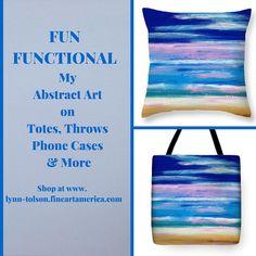 "Fun & Functional! ""Summer Wind"" Abstract art by Lynn Tolson on totes & pillows at Fine Art America #HomeDecor #OceanArt #BeachPainting #BlueHomeDecor #BeachCottage #Seascape #ThrowPillows #FashionAccessories"