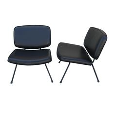 These mid-century, French slipper chairs by Pierre Paulin feature iron frames with wide slightly contoured seats upholstered in black leather.