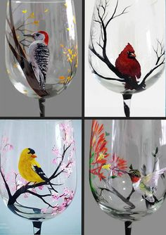 Seasonal Wine Glass Set of Four Hand Painted Birds Hummingbird Cardinal Yellow Finch Woodpecker Summer Spring Winter Fall Unique Art Gift Wine Glass Crafts, Wine Glass Set, Wine Bottle Crafts, Bottle Painting, Bottle Art, Painting On Glass, Yellow Finch, Hand Painted Wine Glasses, Painted Birds