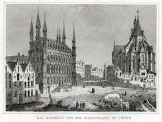 """Antieke (1836) gravure """"Raadhuis en Markt"""" uitgegeven 1836 Frankfurt am Main in """"de Comptoir voor literatuur en kunst"""", naar de natuur getekende en afgebeelde prenten van belangrijke """"buitenhuizen en steden"""" in de Nederlanden en België."""