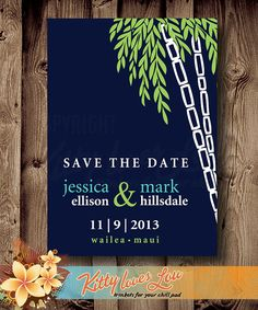 PRINTABLE Save the Date Announcement Retro Bamboo Wedding Destination Engagement Custom Invitation Beach Tropical Hawaii Navy Turquoise lime...