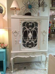 Antique China Cabinet Shabby Chic Chalk Painted by LisasRags2Richs