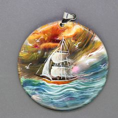 STONE  NECKLACE HAND PAINTED sailboat SHELL PENDANT BEAEDS ZL304922 #ZL #Pendant