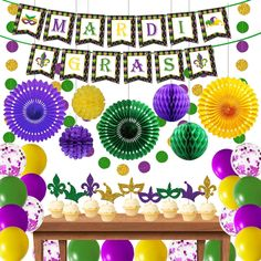 Mardi Gras Decorations,Gold Purple and Green Decorations Party Centerpiece Glitter Circle Garlands Banner Paper Fan Pom Poms,Mardi Gras Banner Garlands for Fat Tuesday/Mardi Gras Theme Celebration: Amazon.co.uk: Kitchen & Home Carnival Themes, Party Themes, Circle Garland, Mardi Gras Decorations, Theme Days, Paper Fans, Party Centerpieces, Party Accessories, Purple Gold