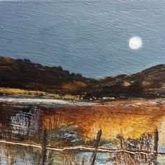 """Mini Mixed Media Art on wood By Louise O'Hara - """"Beyond the Rusty fence"""" Inside Outside, Detail Art, Medium Art, Solid Oak, Mixed Media Art, Wood Art, Fence, Original Artwork, Pastel"""
