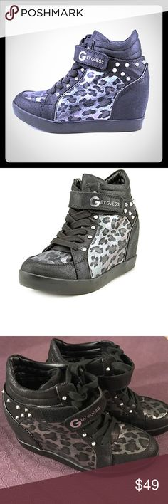 GUESS Wedge pop star sneakers heel tennis shoe 9.5 Guess brand wedge sneakers in gorgeous leopard or animal print. Size 9.5 M. Color is black multi and brand is Guess Popstar. Paid over $70 for them. These are in like New condition as they were worn inside for maybe half an hour and that's it. Gorgeous shoes!! G by Guess Shoes Wedges