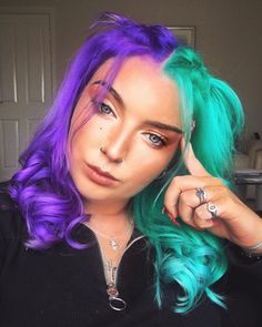 17 Hot Styles - Braided Ponytail for Black Hair in 2019 - Style My Hairs Vivid Hair Color, Bright Hair Colors, Hair Color Purple, Hair Dye Colors, Cool Hair Color, Bright Colored Hair, Colourful Hair, Half Colored Hair, Blue And Pink Hair