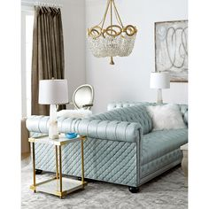 Old Hickory Tannery Twin Lakes Tufted-Leather Double-Sided 76L Sofa (25.960 BRL) ❤ liked on Polyvore featuring home, furniture, sofas, light blue, leather couch, quilted sofa, outdoor furniture, tufted couch and light blue couch