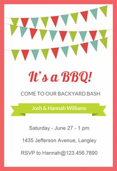 red pennants printable invitation template customize add text and photos print