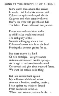 Elizabeth Jennings Song at the Beginning of Autumn Autumn Day, I Fall, Autumn Leaves, Autumn Song, Elizabeth Jennings, October Country, Poetic Words, Poems, Wisdom