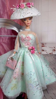 Vintage Reproduction Barbie Silkstone FR Fashion VR Handmade Dress OOAK / Mary in Dolls & Bears, Dolls, Barbie Contemporary Barbie Clothes Patterns, Vintage Barbie Clothes, Handmade Dresses, Handmade Clothes, Clothes Crafts, Doll Clothes, Poppy Parker, Barbie Dress, Barbie Outfits