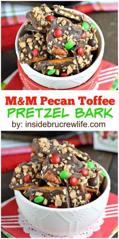 Chocolate covered pretzel bark topped with pecans, toffee, and M&M's is such a fun sweet and salty treat!
