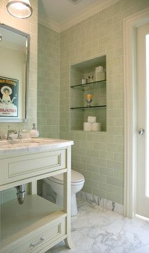 Obsessed with sage/white bathrooms. Marble floor is a must.