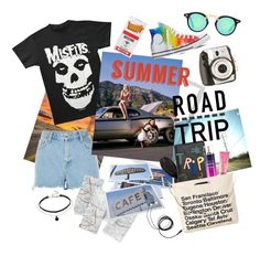 """Summer Road Trip"" by afatrustamova on Polyvore featuring River Island, Lola James Harper, Polaroid, Dot & Bo, GHD, Beauty Rush, Converse, Lizzie Fortunato Jewels, American Eagle Outfitters and Chicnova Fashion"
