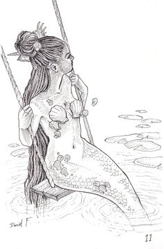 """""""thecolormonster: """" INKTOBER """"Mermaid in Frenchman's Cove"""" (inspired by a beautiful photo of kai-zzer) """" Mermaid Artwork, Mermaid Drawings, Mermaid Tattoos, Mermaid Sketch, Drawings Of Mermaids, Fantasy Mermaids, Mermaids And Mermen, Mermaid Coloring, Merfolk"""