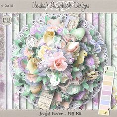 """""""Joyful Easter"""" Kit and Collection by Ilonka's Scrapbook Designs is available at:  Here is a wonderful new kit and collection in soft pastel colors. It's called """"Joyful"""".  http://www.digiscrapbooking.ch/shop/index.php?main_page=index&manufacturers_id=131&zenid=505e549644797992fb6f20f38872706b  http://digital-crea.fr/shop/?main_page=index&manufacturers_id=177  http://www.godigitalscrapbooking.com/shop/index.php?main_page=index&manufacturers_id=123"""