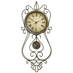 Sterling & Noble Scroll Pendulum Wall Clock - Wrought Iron - Save 37%