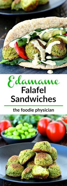 Edamame Falafel Sandwiches- made with edamame instead of chickpeas, these nutrient-packed sandwiches are a delicious twist on a classic dish! Sponsored by /sabradippingco/ | /foodiephysician/ This is so happening sans cheese!