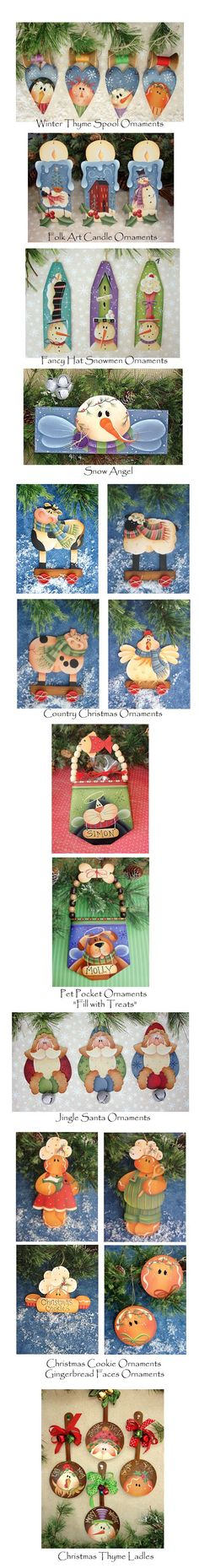 Hand Painted Ornaments from Plum Purdy Designs. Christmas Wood, Country Christmas, Christmas Projects, Winter Christmas, Painted Ornaments, Xmas Ornaments, Christmas Decorations, Pintura Country, Snowman Crafts