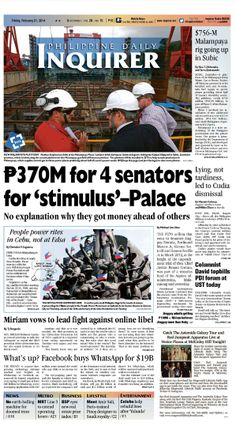 """""""P370M for 4 senators for 'stimulus'–Palace,"""" today's Inquirer Banner Story (February 21, 2014). Grab your copies from the nearest newsstand or download the digital version at inquirer.net/apps/"""