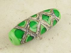 Lampwork Glass Bead Green Organic Focal with Webbed Silvered Ivory Grass Green Honeycomb ~ Spawn Of Flame; Rosemarie Hanus