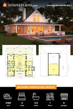 Check out our cool collection of modern farmhouse plans. These design boast open floor plans and smart amenities. 2200 Sq Ft House Plans, Small House Floor Plans, Dream House Plans, Metal Building Homes, Building Design, Building A House, Modern Farmhouse Plans, Modern House Plans, Farmhouse Design