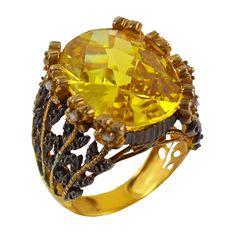 Ασημένιο επίχρυσο δαχτυλίδι με κίτρινη πέτρα Antiques, Silver, Vintage, Collection, Antiquities, Antique, Money