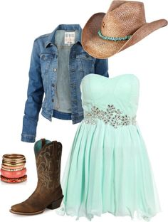 Country Girl Outfits perfect spring country music outfit with teal dress and blue jean jacket.