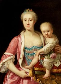 Maria Carolina of Austria and her daughter Maria Theresa of Naples and Sicily, between circa 1772 and circa 1773 by Giuseppe Bonito (1707–1789)