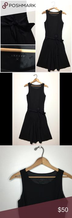 THEORY • Pleated Wool Dress w/ Tie Belt Theory Pleated Wool Dress with Tie Belt in Black • Size 4 • Belt Threads on Each Side ( Belt threads side is partially attached) • Zipp Closure • Flare • Can be worn with or without belt • Pleated Panel in Front • See 📷 for material content • Feel free to ask questions 😊😊 • Measurements upon request • Theory Dresses