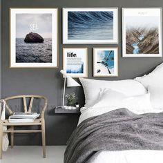 Modern Nordic Landscape Mountain Sea Canvas Poster Prints Unframed