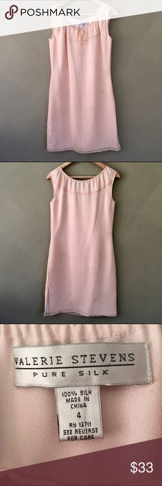 (NWOT) valerie stevens | 100% silk dress (NWOT) valerie stevens | 100% light pink silk sleeveless dress with delicate whimsical flower print and tie at scoop neck in a new without tags and never worn size 4. Valerie Stevens Dresses Midi