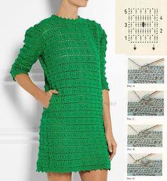 El vestido por el gancho Crochet Vest Pattern, Crochet Jacket, Crochet Blouse, Knit Skirt, Crochet Stitches, Knit Dress, Knit Crochet, Crochet Fashion, Crochet Dresses