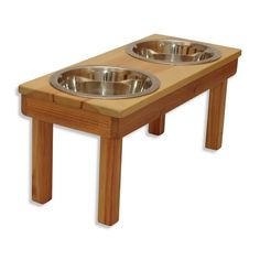 Ozarks Fehr Trade Originals | Raised Dog Bowls | Solid wood | Stainless-steel bowls | stain is 100% natural | allergen-free | non-toxic | handmade | made in the USA #madeintheusapets #handmadepetproducts