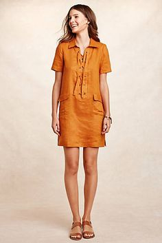 Lace-Up Linen Dress