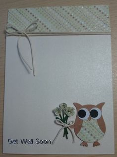 "Stampin UP cute handmade ""Get Well Soon"" card featuring an owl holding a bunch of flowers - 2 colour options http://www.etsy.com/uk/shop/SarahLouCards"